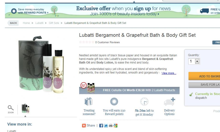 Offer on the product page